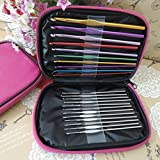 wpch 22pcs Multi Aluminum Crochet Hooks Needles Knit Weave Craft Yarn Case (Size: 1, Color: Dark purple)