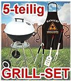 Kugelgrill Set + Grillbesteck + Grillschürze (Danger Grillzone) / Barbecuegrill / Holzkohlegrill