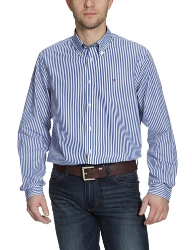 Tommy Hilfiger Men's Malcolm Stripe Casual Shirt L Nautical Blue/ Classic White