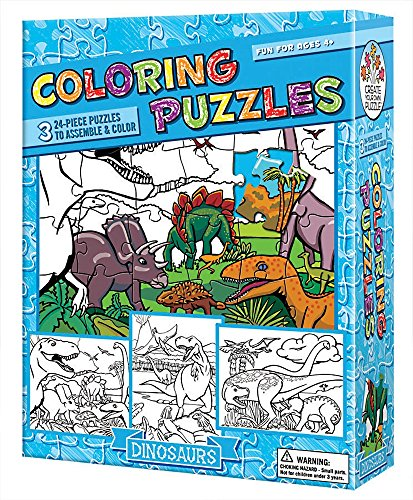 Cobble Hill Coloring Puzzles: Dinosaurs Jigsaw Puzzle, 24-Piece