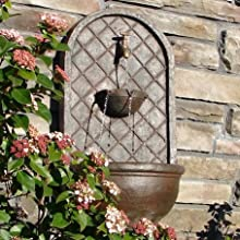The Milano - Outdoor Wall Fountain - Weathered Bronze Finish - Water Feature for Garden Patio and La
