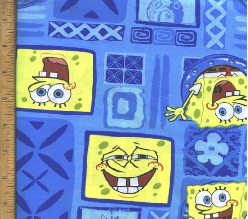 "18"" X 22"" Fabric ""Sponge Bob, Squarepants Blue Hawaiian"" Fabric"
