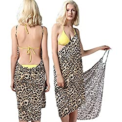 Sexy Backless Style Adorable Leopard Print Summer Wrap Skirt Beach Dress
