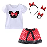 Mud Kingdom Little Girl Cute Skirt Outfits with Headbands Sets Red Size 5