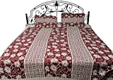 Exotic India Russet-Red and Cream Floral Printed Bedspread from Pilkhuwa - Pure Cotton with Pillow C