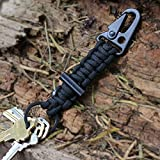 Bomber Paracord Carabiner Survival Keychain Lanyard, Black