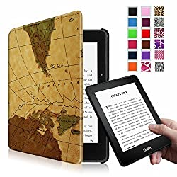 Fintie Kindle Voyage SmartShell Case - [The Thinnest and Lightest] Protective PU Leather Cover with Auto Sleep/Wake for Amazon Kindle Voyage (2014), Map Brown