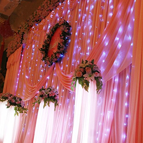 Hikong 3M * 3M 300 Led Christmas Outdoor Party Xmas Festival Fairy String Wedding Curtain Light 110V 8 Modes For Holiday Decoration Lighting (Pure White)