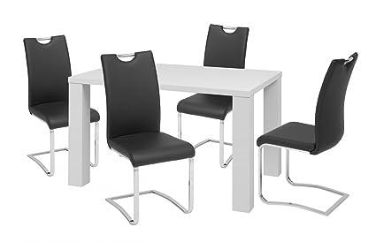 Kuchentisch | Essgruppe | Esszimmertisch | Tischgruppe | Tischset | Glossy mit 4 Stuhlen