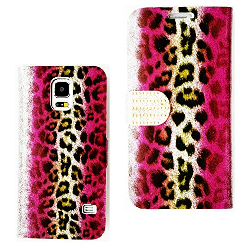 Mylife (Tm) Bright Pink And Gold Leopard Print Stripes - Glammor Design - Koskin Faux Leather (Card, Cash And Id Holder + Magnetic Detachable Closing) Slim Wallet For New Galaxy S5 (5G) Smartphone By Samsung (External Rugged Synthetic Leather With Magneti