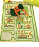 Little Helper IVI Exclusive Large & Thick 3D Childrens Play Mat & Rug in a Colourful Town Design with 3 Dimensional Football Pitch, Car Park & Roads, Green (134 x 180cm)