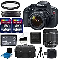 Canon EOS Rebel T5 18MP EF-S Digital SLR Camera Bundle with Battery Pack, Stand and Accessories, Black (11 items)