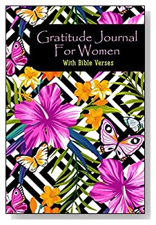 Gratitude Journal For Women - With Bible Verses. Pink and purple hibiscus flowers on a black and white geometric design make a dramatic cover for this 5-minute gratitude journal for the busy woman.