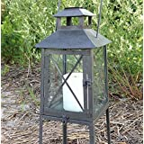 Coastal Beach Themed Lighthouse Metal Tower Candle Lantern With Stand - 7-in X 7-in X 20-in