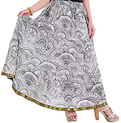 Ceil Women's Cotton Skirt (White and Black)