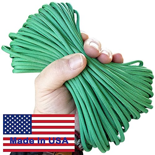 7-Strand Standard Issue Kelly Green Paracord / Parachute Cord 50 Ft. Hank. Guaranteed U.S. Made Military Survival Cord, Type III,