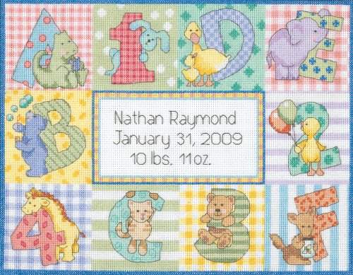 Dimensions Needlecrafts Counted Cross Stitch, Zoo Alphabet Birth Record front-324863