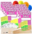 Garage Sale Sign Kit with Pricing Stickers and Wood Sign Stakes (P/B)