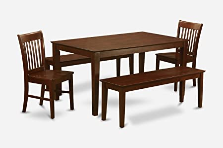 East West Furniture CANO5C-MAH-W 5-Piece Kitchen Table Set