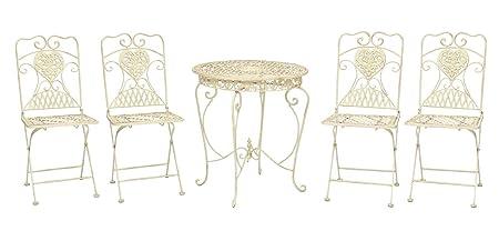 Mesa y 4 sillas mesa de bar de hierro blanco marfil muebles de jardín de estilo