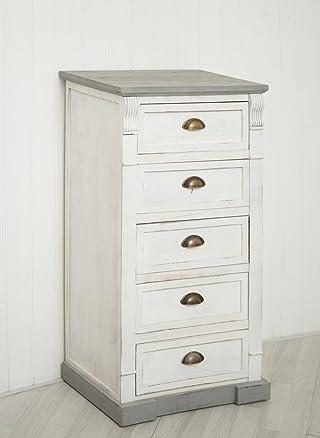 Shabby chic cassettiera con cinque cassetti comodino in legno grigio e bianco–completamente assemblato