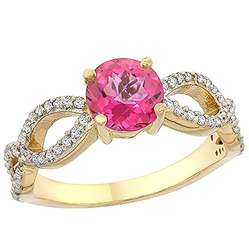 14ct Yellow Gold Natural Pink Topaz Ring Round 6mm Infinity Diamond Accents, sizes J - T