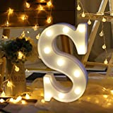 LED English alphabet light Remote control plastic letter station for birthday party Christmas Eve, etc. to add luster to you (S) (Color: S)