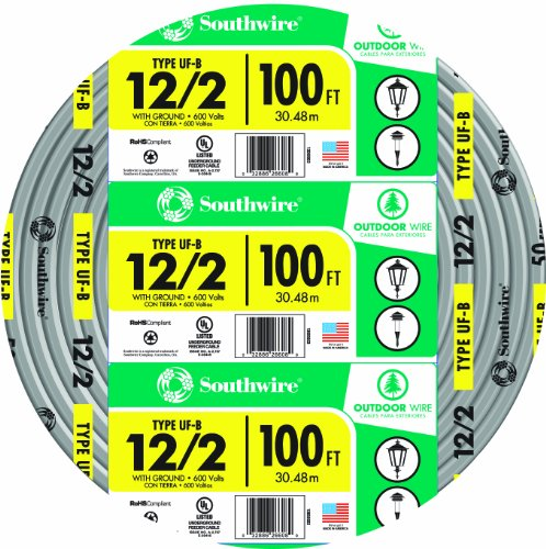 Southwire 13055926 12/2WG UF Wire 100-Foot, Approved for Direct Burial Wiring (12 2 Romex compare prices)