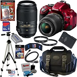 Nikon D5200 24.1 MP CMOS Digital SLR Camera (Red) with 18-55mm f/3.5-5.6G AF-S DX VR and 55-300mm f/4.5-5.6G ED VR AF-S DX NIKKOR Zoom Lenses + EN-EL14 Battery + 10pc Bundle 32GB Deluxe Accessory Kit