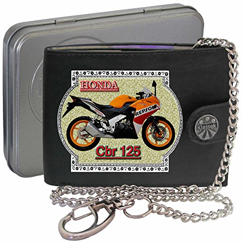 honda-cbr125-repsol-orange-klassek-men-wallet-with-chain-motorbike-accessory-gift-bike-real-leather-