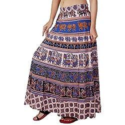 Femezone Women Animal Print Cotton Long Wrap Around Skirt Open Waist (multi 3)