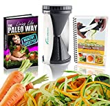 #1 iPerfect Kitchen® Envy Spiral Slicer - Vegetable Spiralizer eBundle FREE BONUSES - High Quality Stainless Steel Special Japanese Blades and 2 Julienne Sizes - Best Way to Make Noodle or Pasta for Carrot, Potato, Zucchini, Cucumber, Etc. - Hand Spirelli Cutter Better Than Gefu & Paderno - Enjoy Thin, Curly Veggetti Spaghetti Maker - Perfect for Raw Food, Low Carb, Gluten Free and Paleo Diets As Seen on TV - Dishwasher Safe & Easy to Clean - Included Cleaning Brush, Downloadable Ebook Recipes, Manual & Healthy Meals Tips - 100% Lifetime Guarantee