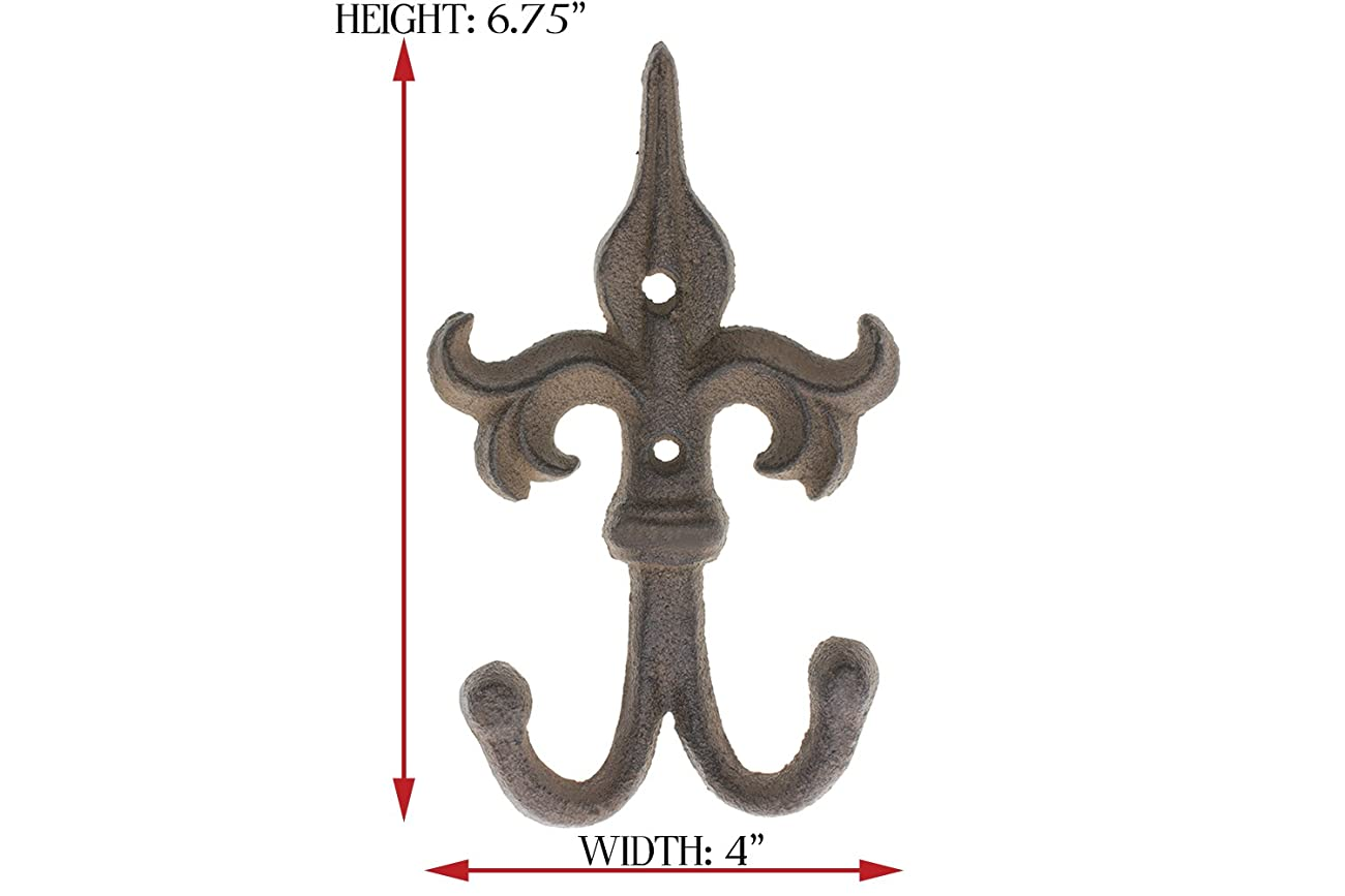 SET OF 3 - Cast Iron Fleur De Lis Double Wall Hooks / Hangers - Decorative Wall Mounted Coat Hook - Rustic Cast Iron - With Screws And Anchors by Comfify CA-1504-30-BR 3