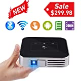 BoxLegend Mini Video Projector HD Portable Projector WiFi Bluetooth Support 1080P Max200 DLP Video Projector Built in Battery 4000mAh Android System Home Theater Entertainment (Color: PDO_D06)