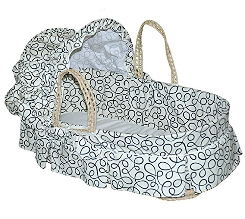 Jolly jumper Baby Moses basket With Pleats Cream And Black Swirls 251-60 - 1
