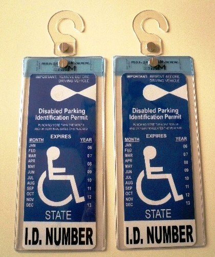 2 Sets of MirorTag Silver - A Novel Way to Protect, Display & Put Away a Handicapped Parking Placard. Slip in your handicap placard into this 18 mils thick and uniquely designed cover and protector; unlike others, this one comes with a strong hook that will never melt or bend or break in the sun or cold. Magnetically snap the holder On & Off to a Hook you mount behind your rearview mirror once and no need to remove it unless you transfer it to another car. No more back & neck pain. No more hangi
