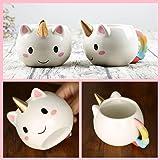 Unmengii New Cute 3D Cartoon Ceramic Mug Unicorn Coffee Cup