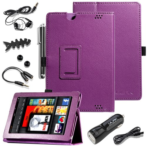 Pandamimi Ulak(Tm) Slim Folio Magnetic Pu Leather Case Cover With Smart Cover Auto Wake / Sleep Feature For Amazon All New Kindle Fire Hd 7 Inch (2Nd Generation 2013 Model, Will Not Fit Hdx Models Or Previous Generation) With 6In1 Accessories - Headphone,
