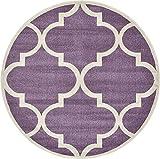 Modern Geometric 6-Feet by 6-Feet (6' x 6') Round Trellis Purple Contemporary Area Rug