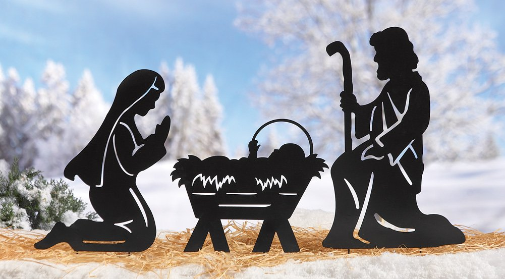 Holy Family Nativity Shadow Garden Stakes, Outdoor Christmas Decorations