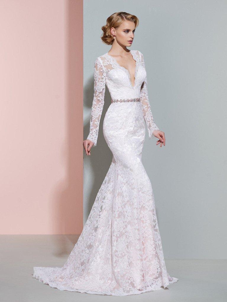 CLOCOLOR Women's Sheer Long Sleeve Deep V Neck Mermaid Vintage Lace Wedding Dress 2