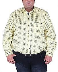 Xmex Men's Cotton Shirt (KR-359LEMON, Yellow, XXX-Large)