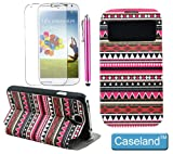 Caseland colorful Magnetic Wallet Stand Folio Leather protector case with window view for Samsung galaxy s4 i9500 with 1 screen protector and 1 stylus (colorful 8)