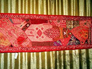 Ferrari red Bead Vintage India Decor Table Runners Tapestry Wall Hanging Throw 60x20