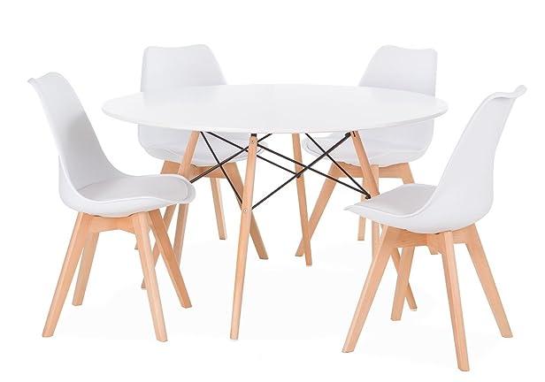 Set di tavolo karelia2+ 4Sedie Wooden bianche