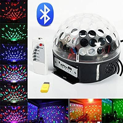 HiqLED® Bluetooth RGB Crystal Magic Rotating Ball Effect Led Stage Lights For KTV Xmas Party Wedding Show Club Pub Disco DJ (with Bluetooth, Remote Control and USB Flash Disk) from HiqLED