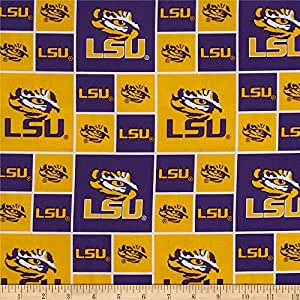 cotton college lsu louisiana state university tigers print cotton fabric by the yard. Black Bedroom Furniture Sets. Home Design Ideas