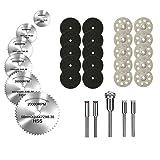 Diamond Cutting Wheel, HSS Circular Saw Blades, and Resin Cut Off Disc Kit Set (31 Pcs) for Rotary Tool W/ 1/8