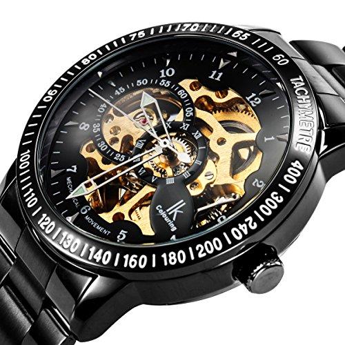 Alienwork IK mechanische Automatik Armbanduhr Skelett Automatikuhr Uhr schwarz Edelstahl 98226-07 2