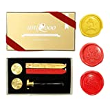 UNIQOOO Arts & Crafts Christmas Wax Seal Stamp Kit, 3 Stamps - Merry Christmas, Jingle Bell, Reindeer, 2 Wick Wax Sticks, Decoration for Invitations, Cards Envelops, Snail Mails, Xmas Gift Ideas (Color: 3pcs Sealing Stamp Kit (Cbd))